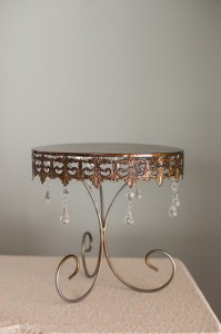 Gold Metal Cake Stand with Crystals Image