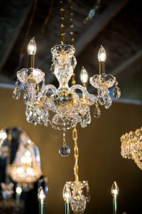 Medium Gold Chandelier with Crystals Image