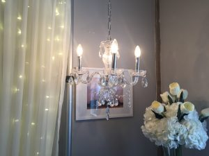 Medium Silver Chandelier with Crystals Image